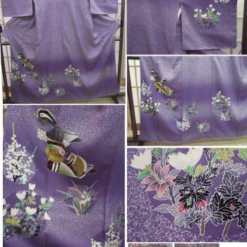 訪問着TOKIOdeTOKI 菫色地菊や梅の花に鴛鴦