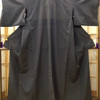 単衣 塩沢紬山田織製 藍鉄色地細やかな縞(居敷当付き)