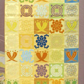 袋帯 川島織物 市松に多彩な遠州裂紋様 丁子や花輪違い