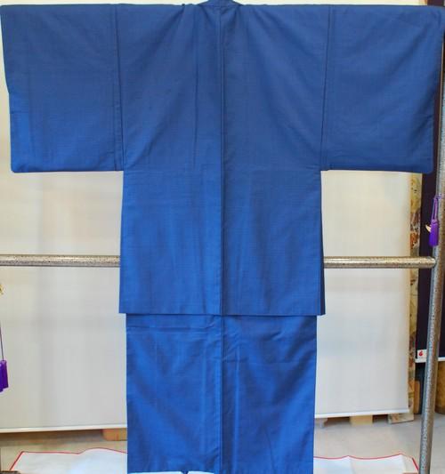 男物 紬アンサンブル・長襦袢3点セット紺(A4789M)