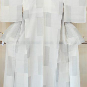 夏 結城紬 市松に蚊絣の亀甲柄(A4977KS)