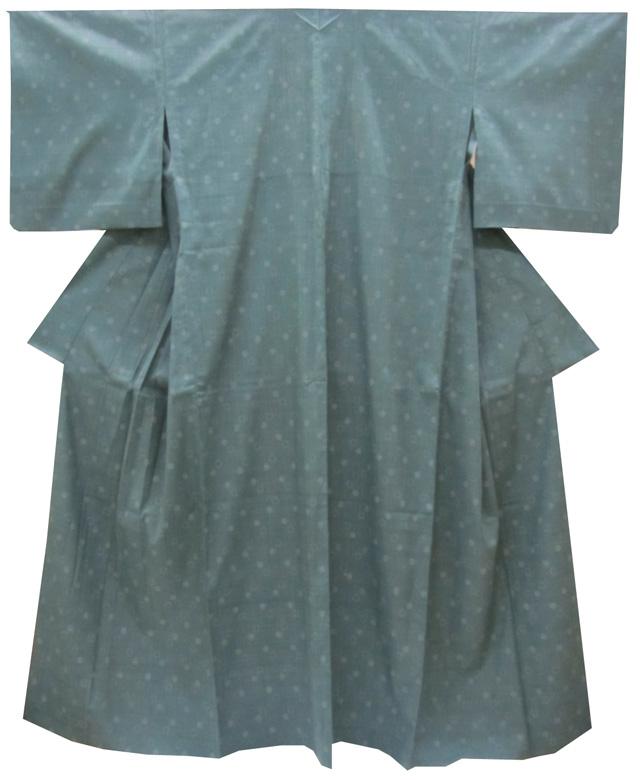 本場結城紬奥順製 単衣 裄68.4cm天鵞絨色水玉絣(居敷当て付き)