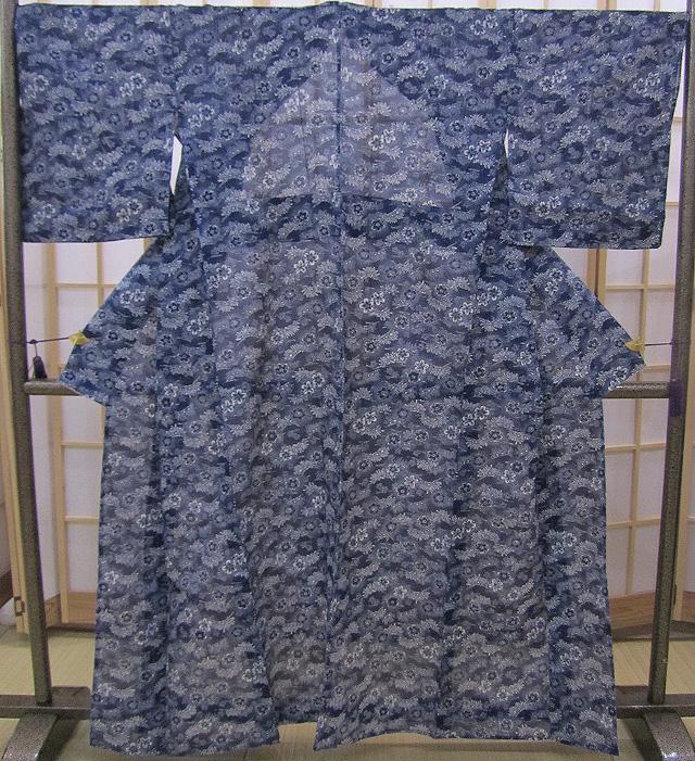 無形文化財長藍染浴衣 裄70cm 綿絽紺色地桜文