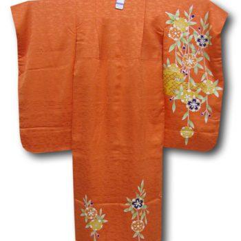 【七五三】7歳女の子2点セット 橙色地枝垂桜模様