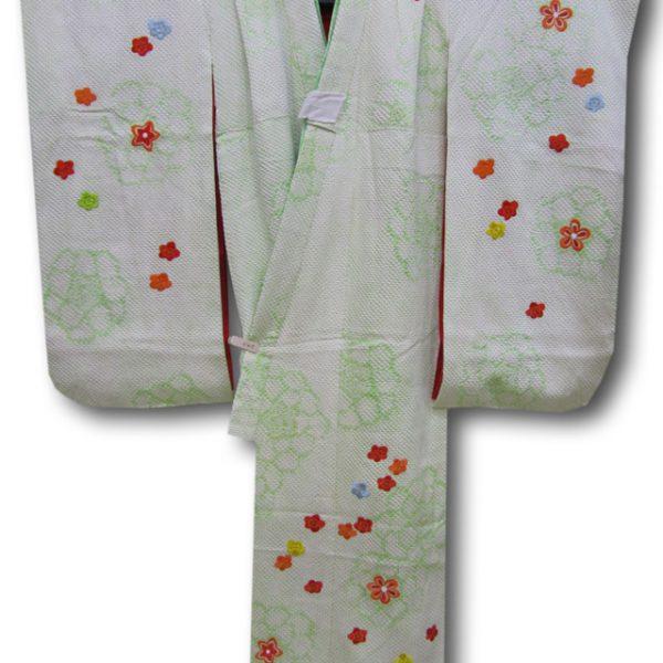 【七五三】7歳女の子2点セット 淡い黄緑色地総絞り 刺繍花文