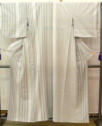 小紋 グレーベージュ 縞 帯のひなや製