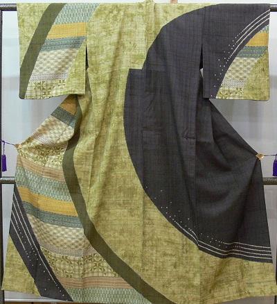 紬訪問着 単衣 しょうざんの生紬 大胆な幾何学模様に柄取り