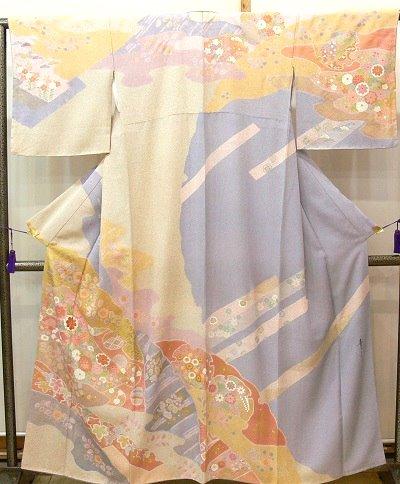 訪問着 薄藤色に霞・雪輪・熨斗の吉祥紋様の柄取り 京友禅 松井青々