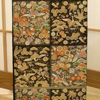 袋帯 黒 市松に有職紋様 西陣織 服部織物