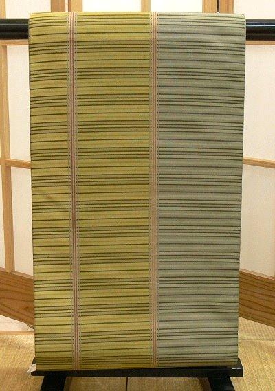袋帯 芥子・グレー 縦割りの縞模様 西陣織 川島織物