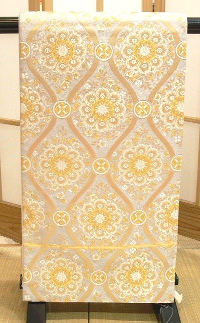 袋帯 銀 金糸で立涌に唐華紋の正倉院文様 川合美術織物