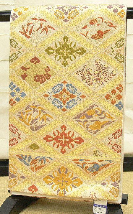 袋帯 金茶 川島織物の唐織 有職紋様
