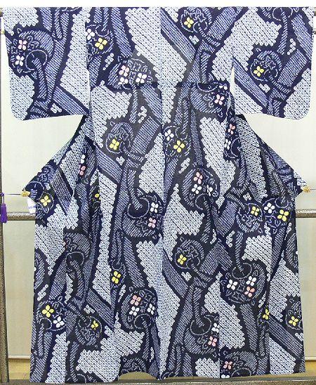 浴衣 紺色 絞り染め風鈴柄(A4669S-5)