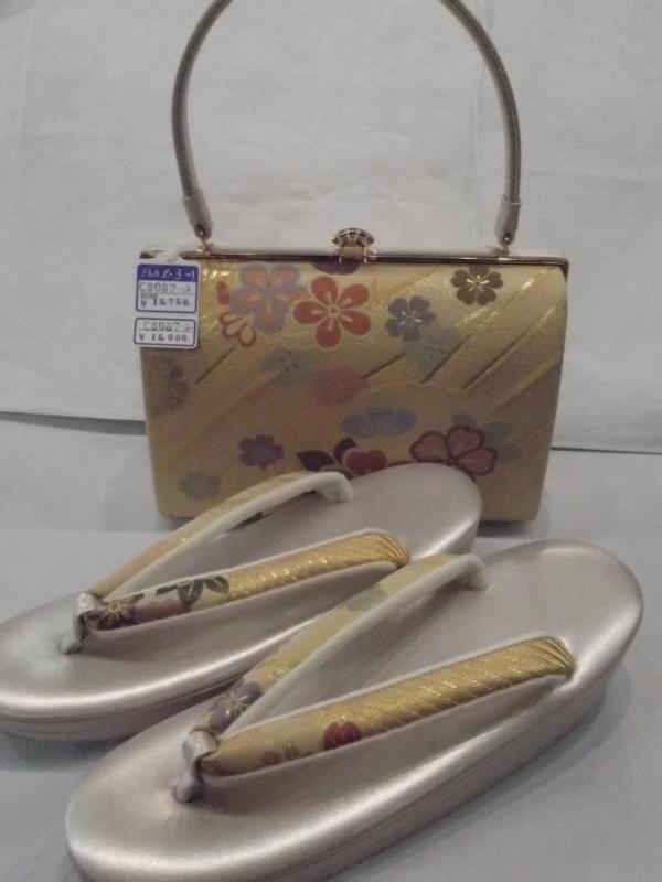 草履バッグセット 礼装用、金地に桜(フリーサイズ)未使用