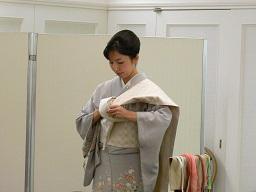 半巾帯、袋帯の変わり結びの実演
